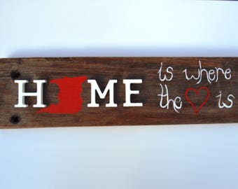 Home is where the heart is, Wall Hanging Sign, Wooden Sign, Heart Sign, Coastal Home Decor
