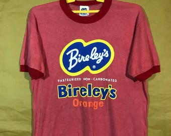 80s Vintage Bireley's Orange Drink Ring T-shirt 50/50 Polyester Cotton Adult Large Size Chest 22""