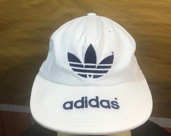 80s Vintage Adidas Trefoils Tennis Cap Made In Japan Adult One Size Adjustable