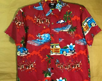 Nos With Tags LOWES Brand Surfing Santa Clause All Over Print Hawaii Shirt