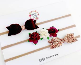 3 glitter bows set , burgundy ,baby headbands , hair bow , autumn ,  hair bow, glitter hair clip , baby bows, rose gold clip