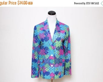 30% OFF VTG 70s Blue Patchwork Groovy Psychedelic Button Down Blazer S/M