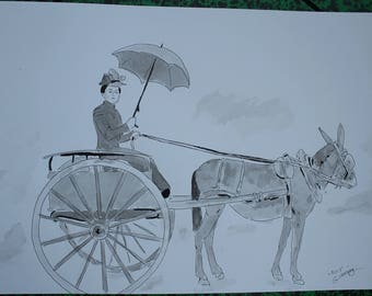 """original drawing the Baroness wagon""""ink and ink wash painting"""