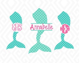 Mermaid Tail Monograms; SVG, DXF, EPS, Ai, Png and Pdf Cutting Files for Electronic Cutting Machines