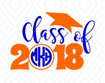 Class Of 2018 Monogram Frame; SVG, DXF, EPS, Ai, Pdf Cutting Files for Electronic Cutting Machines