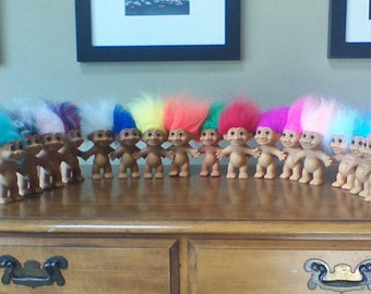 "Vintage Russ Troll Dolls, 5"" Naked Trolls, Yellow, Orange, Pink, Red, Purple, Green, Blue, Gray, White, Peach, Teal, Rainbow Colored hair"
