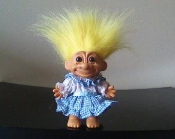 "Vintage Russ Troll Doll Storybook Trolls Goldilocks And The Three Bears Girl in a Blue Plaid Dress Yellow Hair Trolls 5"""