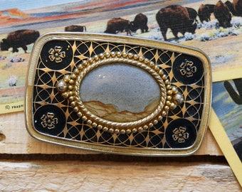Vintage Picture Jasper Landscape Jasper Center Stone Cabachon Belt Buckle Western Cowboy Cowgirl Boho Gold Tone with Black