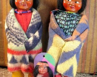 3 Vintage Skookum Native Dolls, Papoose & 2 Adults Bully Good