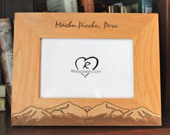 Mountains Personalized Engraved Picture Frame, Vacation Memories, Any Text