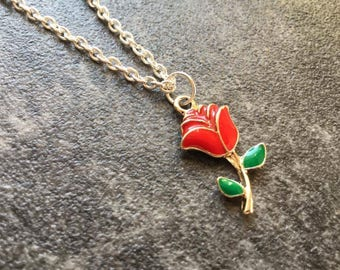 Rose Necklace, Red Rose Necklace, Enchanted Rose Necklace, Enchanted Rose, Gift for Friend, Gift fot Her, Enchanted Rose Gift, Birthday Gift
