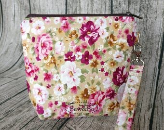 Make Up Pouch - Beige Pink Flowers