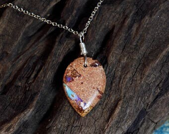 Australian Boulder Pipe Opal Pendant on Sterling Silver Chain Necklace