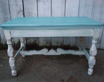 Vintage Coffee Table French Country Farmhouse Coffee Table Antique Shabby Chic Teal Coffee