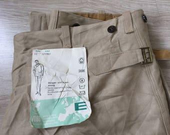 Deadstock Vintage German Khaki Moleskin Cinchback Work Trousers VOSS Sanfor Vetements Work Clothing