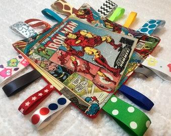 Iron Man Crinkle Sensory Toy, Tag Blanket, Crinkle Sensory Toy, Crinkle Sensory Tag Toy, Iron Man Tag Blanket
