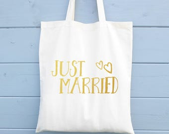 Just Married, Shopping Bag, Wedding Bag, Ethical Tote Bag, Cotton Tote Bag, Tote Shopper, Canvas Tote Bag, Market Tote Bag, Marriage