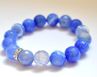 Blue Agate Stretch Elastic Bracelet, Blue Agate Bracelet, Love Bracelet, Gemstone Bracelets, Nautical Bracelet, Stretch Gemstone Bracelet