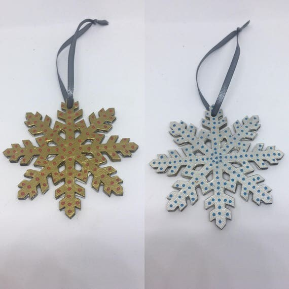 Hand Painted Snowflake Christmas Decoration Silver and Blue or Red and Gold 8cm