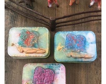 COWGIRL BOOTS soap,western decor,cowgirl,cowgirl boots,wild west,horse,cowboy,rodeo equine horse lover farm ranch cowboy boots wild west