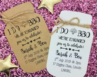 "I DO ""BBQ"" Engagement Party Invitation with Envelopes Save The Date Card, Mason Jar"