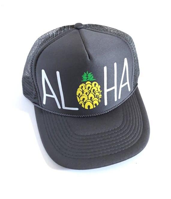 Aloha Trucker Hat Slate Screen Print| Aloha Hat| Hawaii Hat| Pineapple Hat| Pineapple| Beach Hat| Grey Hat