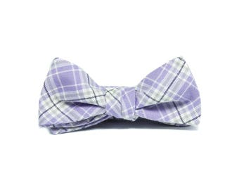 Lavender plaid kids bowtie, Boys bowtie, Pre-tied boys bowtie, Purple Cotton bow tie for kids