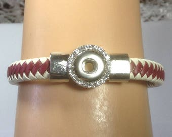 New 12mm LEATHER RED And WHITE Braided Snap Bracelet..Magnetic Closure