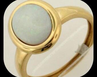 New 14K Yellow Gold 1.25CT Australian Black Crystal White Opal RING