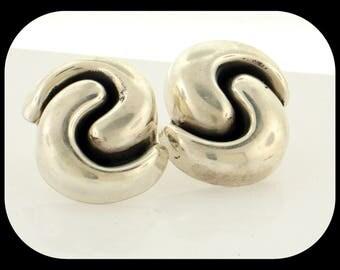 Vintage 925 Sterling Silver High Quality Swirl Design Pierced EARRINGS