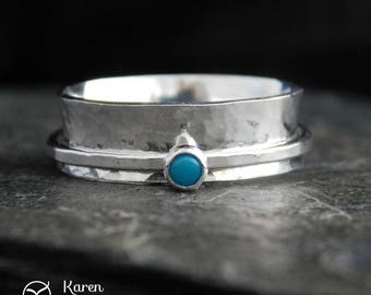 Sterling silver spinner ring with turquoise, fidget ring, meditation ring. Wedding band. Size 7 (fits size 6 to 6.5 fingers). KK021