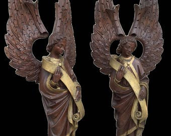 Antique Religious Church Altar French Gothic Angels a Matching Pair in Carved Wood 19th Century #7899