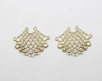P0646/Anti-Tarnished Matte Gold Plating Over Brass/Sector Net Pendant/23x19mm/2pcs