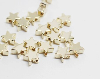 P0691/Anti-Tarnished Gold Plating over Brass/Mini Star Charm Connector/6mm/4pcs
