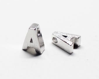 P0721/Anti-Tarnished Rhodium Plating Over Brass /Brushed Mini Alphabet Charm/6x6.8mm/2pcs
