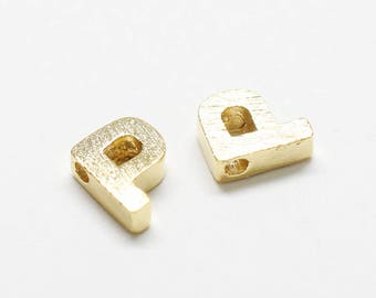P0721/Anti-Tarnished Gold Plating Over Brass /Brushed Mini Alphabet Charm/5x7mm/2pcs