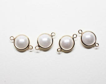 P0779-1/Anti-tarnished Gold Plating Over Brass+Acryl Pearl/Large Framed Pearl Connector/8mm(without ring)/10pcs