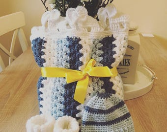 Baby Set blanket set, booties and hat, baby blanket, baby booties, baby shower gift, newborn baby, baby boy