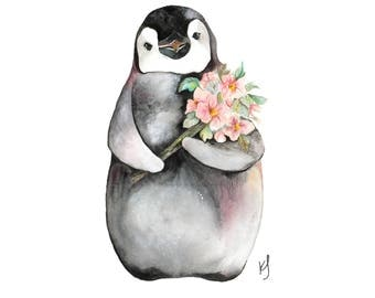 Watercolour Penguin and flowers