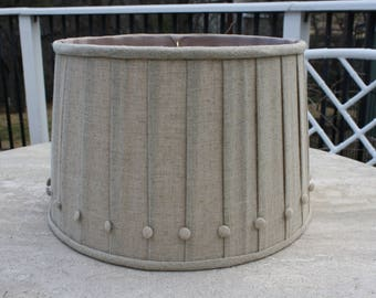 Vintage Linen Pleated Lampshade with Button Detail