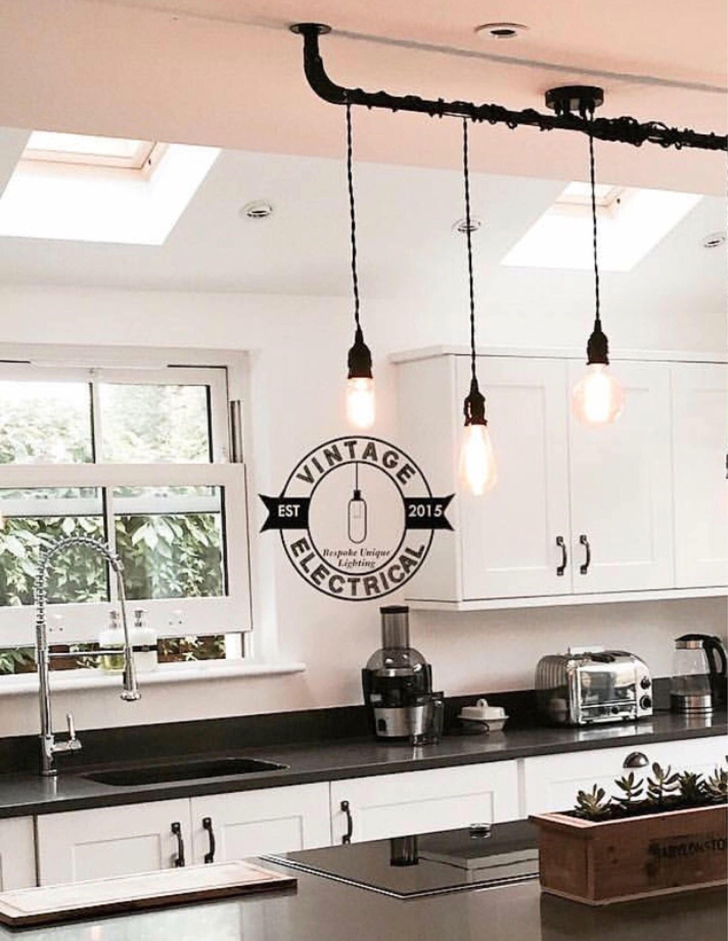 the burnham 3 x pendant drop light hanging lights ceiling dining room retro kitchen table e27. Black Bedroom Furniture Sets. Home Design Ideas