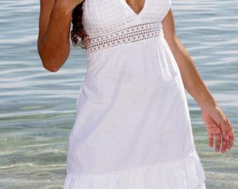 SUMAYA Organic Low Open Back Crochet Double Ruffle  Halter Short Dress