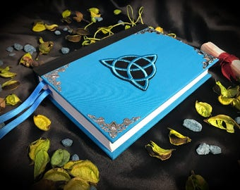 "Book of shadows / Diary ""New Turquoise Triquetra"" paganism pagan symbolism wicca handcrafted journal wizardry"