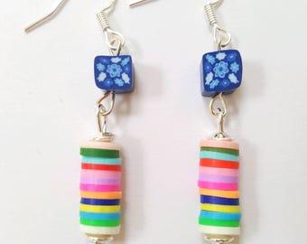 Multicolor stripe earrings, polymer clay stripe earrings, colorful stripe earrings, colorful layered earrings, fimo clay stripe earrings