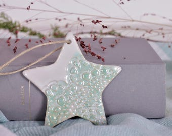 Sale-Star mint-Christmas decoration star-pendant mint white-Star pendant mint-tree jewelry star-Christmas gift star