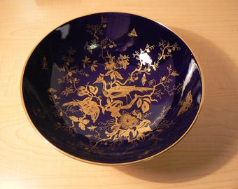 Coalport Fine Bone China 3 footed bowl Cobalt Blue and Gold in Cairo pattern