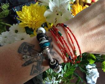Bracelet & Earrings Spanner Charm Lampwork Beads Silver Plated Rope Handmade