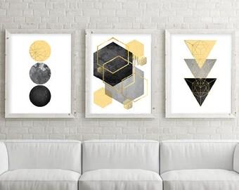 Trending Art, Downloadable Prints, Set of 3 Prints, Print Set, Yellow, Black, Gold, Scandinavian Art, Geometric, Minimalist Poster, Wall Art