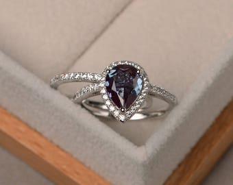 Alexandrite Ring Silver, Pear Cut Alexandrite , Engagement Ring,June  Birthstone Gemstone Ring,