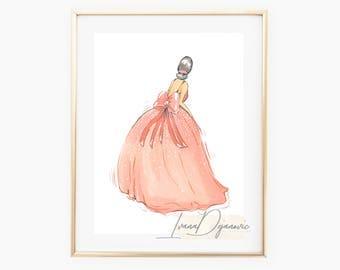 Fashion Illustration Print Bow Dress Fashion Sketch Print Fashion Wall Art Pink Dress Sketch Vanity Art Home Decor Print